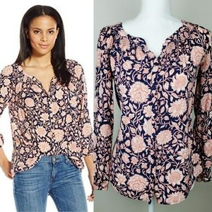 Lucky Brand Jemma Floral Peasant Top XS
